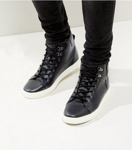 Black Zip Side Hi-Top Trainers | New Look