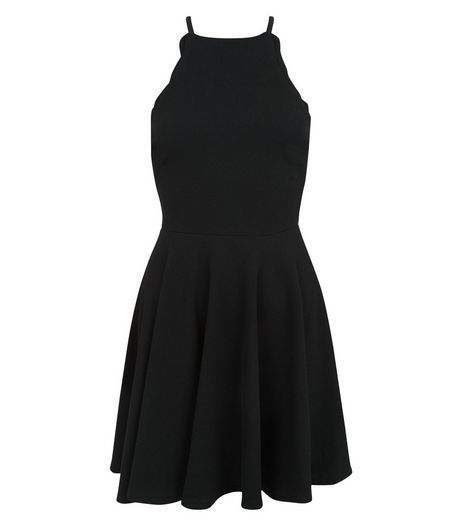 Teens Black Scallop Trim Skater Dress | New Look