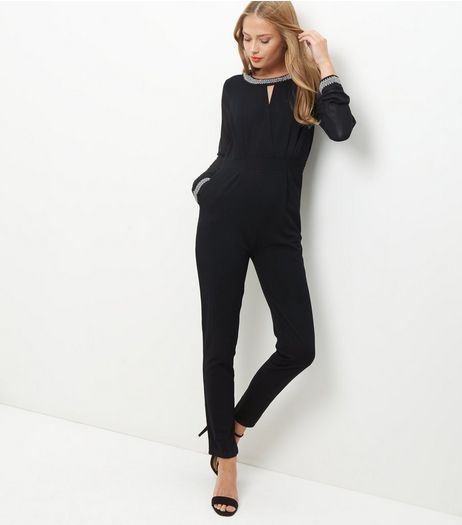 Mela Black Embellished Trim Jumpsuit  | New Look