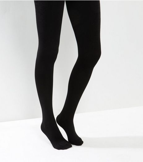 Black Fleece Lined Tights | New Look