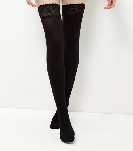 Black Lace Trim Hold Up Tights | New Look