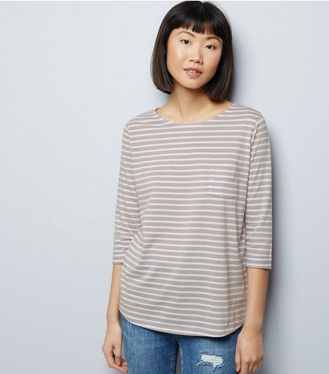 White Stripe 3/4 Sleeve Top  | New Look