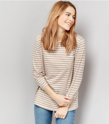 Brown Stripe 3/4 Sleeve Top  | New Look