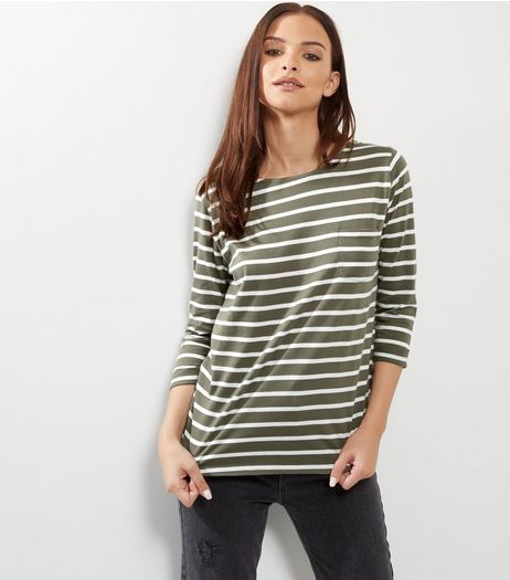 Olive Green Stripe 3/4 Sleeve Top  | New Look