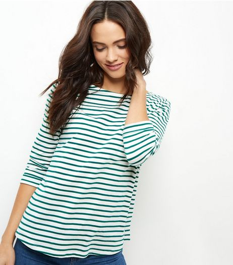 Green Stripe 3/4 Sleeve Top  | New Look