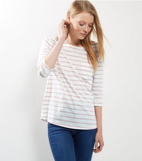 Pink Stripe 3/4 Sleeve Top | New Look