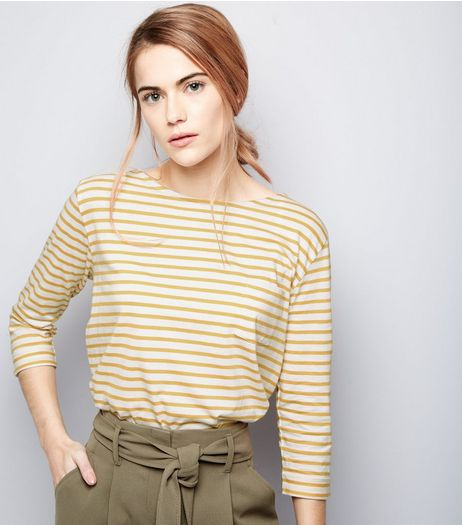 Orange Stripe 3/4 Sleeve Top  | New Look