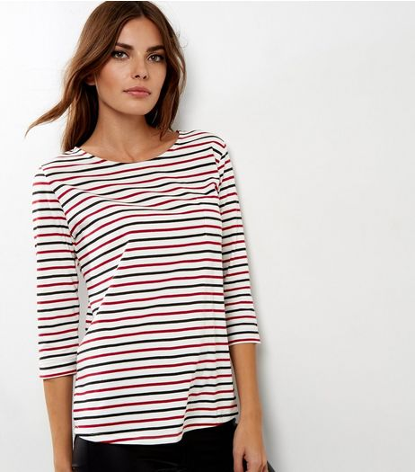 Red and Black Stripe 3/4 Sleeve Top  | New Look