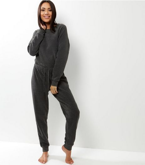 Dark Grey Drawstring Waist Onesie | New Look