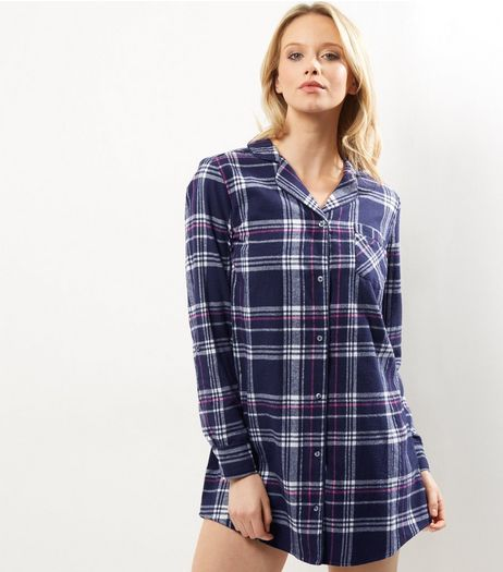 Blue Check Oversized Pyjama Shirt | New Look