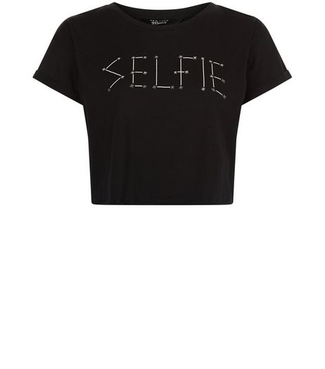 Teens Black Selfie Crop Top | New Look