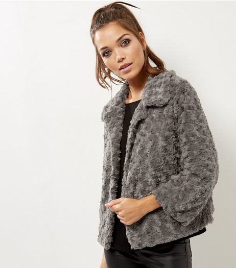 Mela Dark Grey Faux Fur Jacket  | New Look