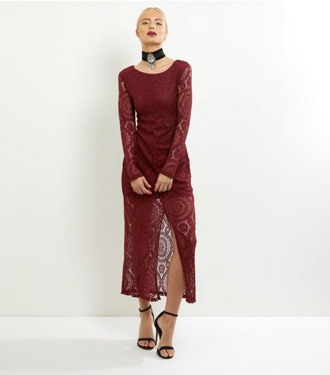 Mela Burgundy Lace Long Sleeve Maxi Dress | New Look