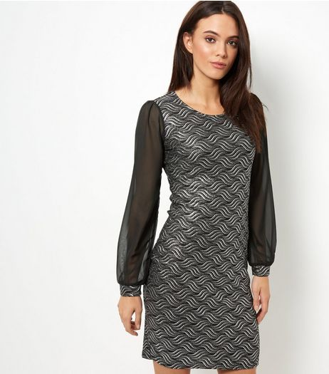 Mela Black Abstract Print Sheer Sleeve Dress | New Look