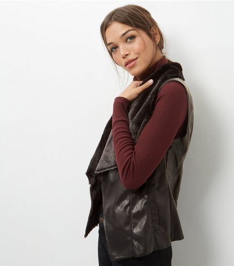 Mela Black Leather-Look Faux Fur Trim Gilet | New Look