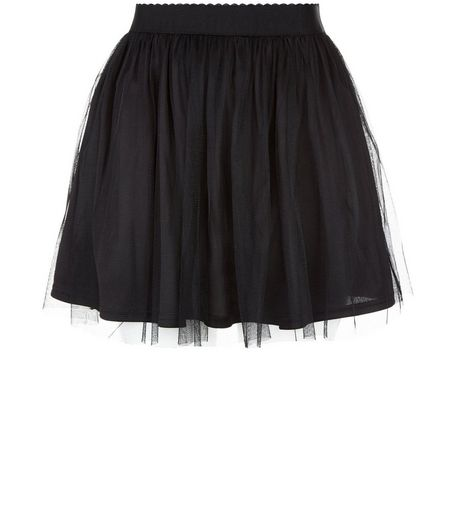 Teens Black Mesh Layered Skirt  | New Look