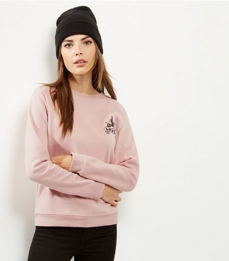 Mid Pink Love Embroidered Acid Washed Sweater  | New Look