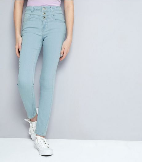 Teens Pale Blue Bleached High Waist Skinny Jeans | New Look