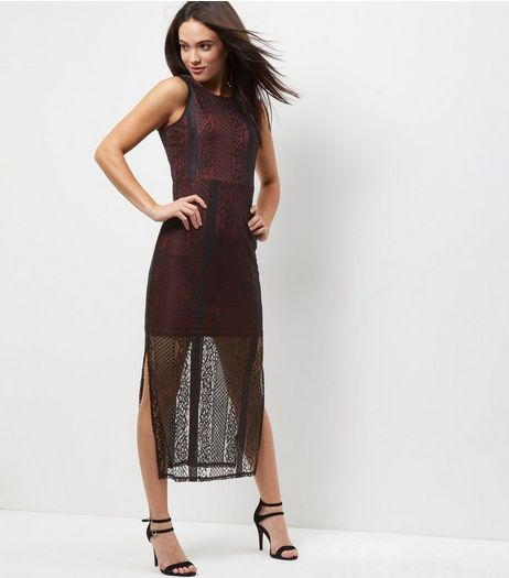 Mela Burgundy Lace Split Side Maxi Dress | New Look