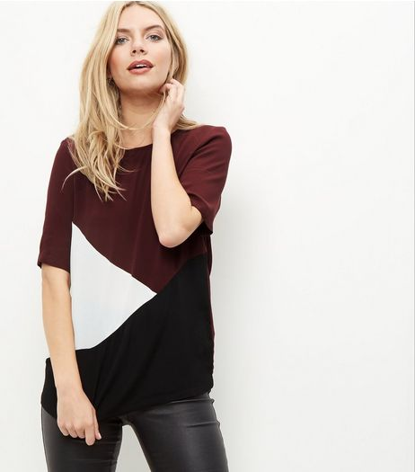 Burgundy Colourblock T-Shirt | New Look