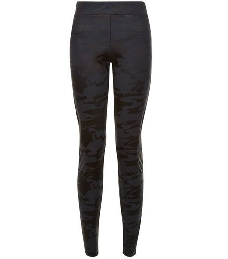 Teens Black Camo Print Coated Leggings | New Look