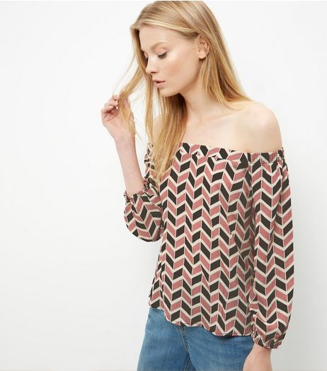 Red Geo Print Bardot Neck Long Sleeve Top  | New Look