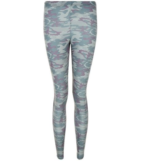 Teens Green Camo Print Leggings | New Look