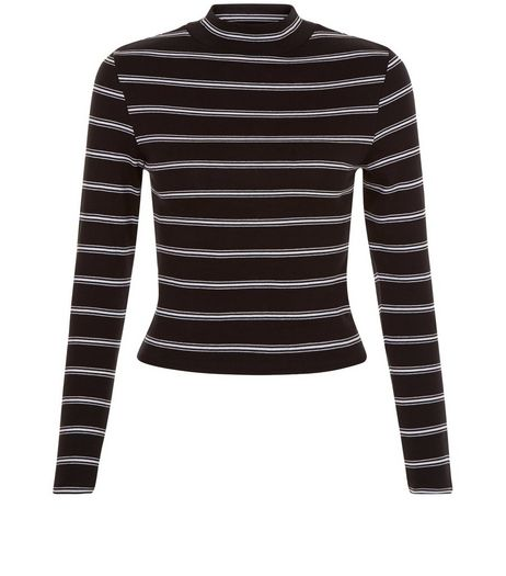 Teens Black Stripe Ribbed Funnel Neck Top | New Look
