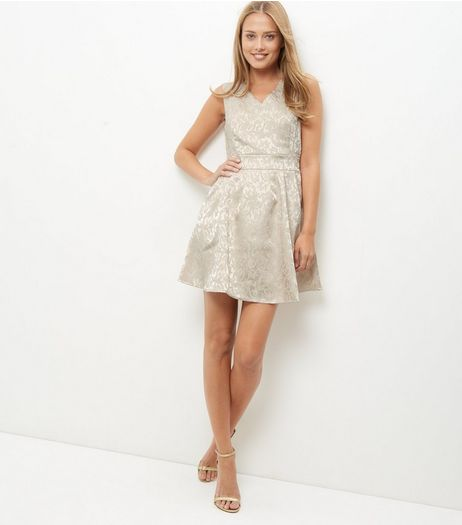 Mela Cream Lace Pleated Skater Dress | New Look