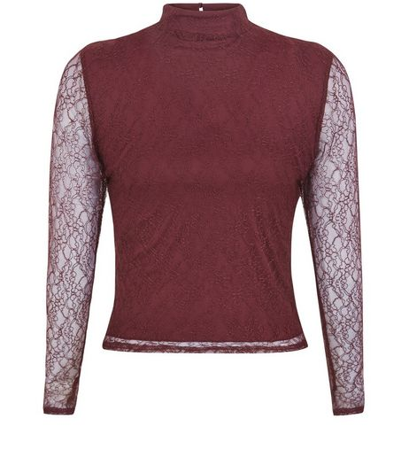 Teens Burgundy Lace Long Sleeve Funnel Neck Top  | New Look