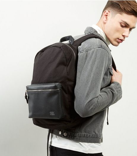 Black Canvas Pocket Front Backpack | New Look