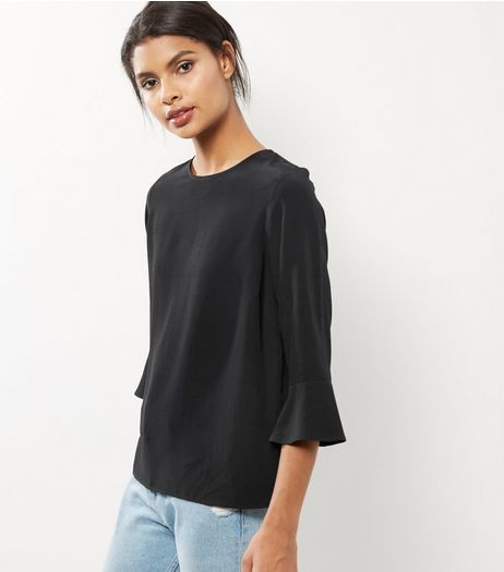 Black Bell Sleeve Top  | New Look