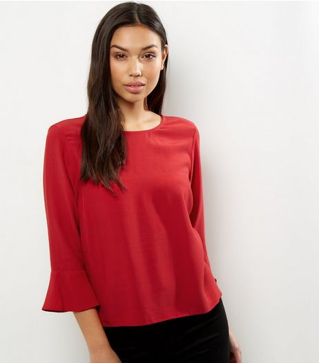 Dark Red Bell Sleeve Top | New Look