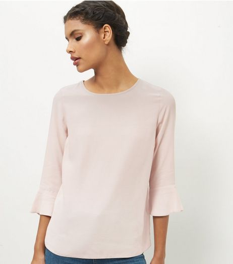 Mid Pink Bell Sleeve Top  | New Look