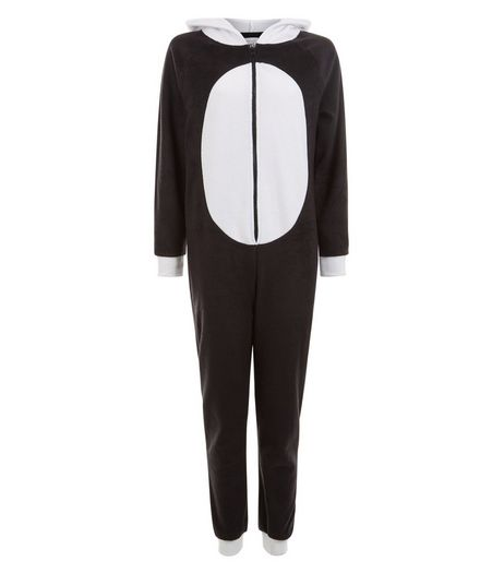 Teens White Panda Hood Onesie | New Look