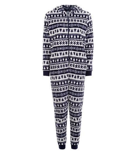 Teens Navy Fairisle Print Onesie | New Look
