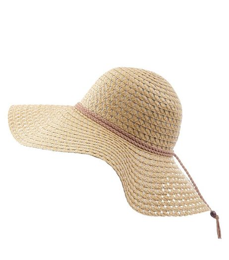 Stone Suedette Plait Trim Floppy Hat | New Look