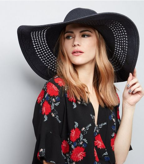Black Mesh Weave Flopy Hat | New Look