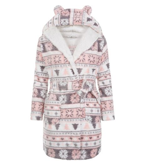 Teens Pink Fairisle Print Robe | New Look