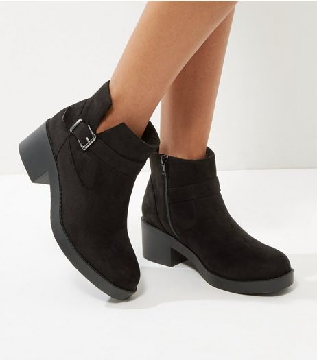 Black Suedette Buckle Chelsea Boots | New Look