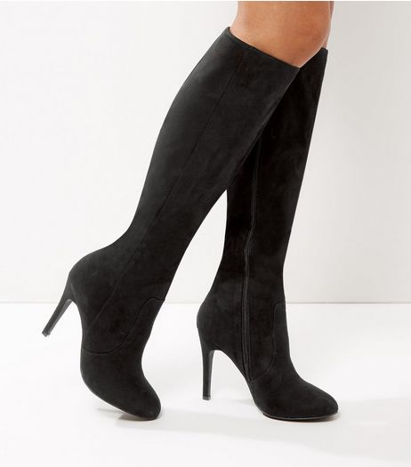 Black Suedette Stiletto Knee High Boots | New Look