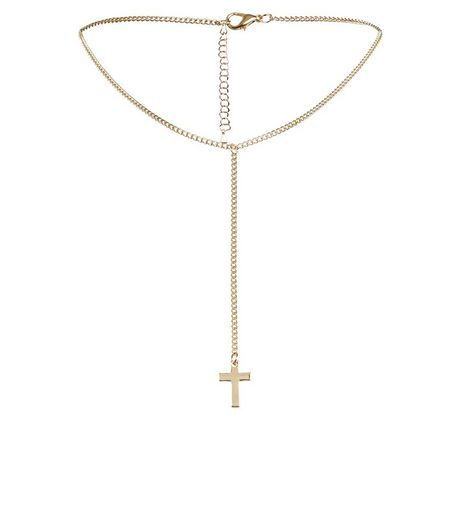 Gold Cross Long Drop Choker | New Look