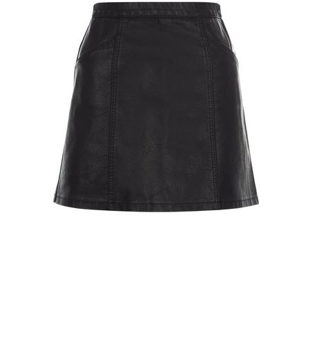 Teens Black Leather-Look Skirt | New Look
