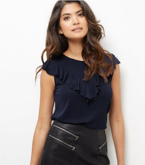 Navy V Ruffle Trim Sleeveless Top  | New Look