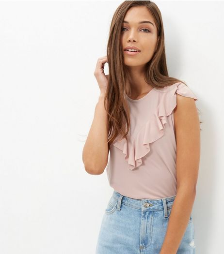 Mid Pink V Ruffle Trim Sleeveless Top  | New Look