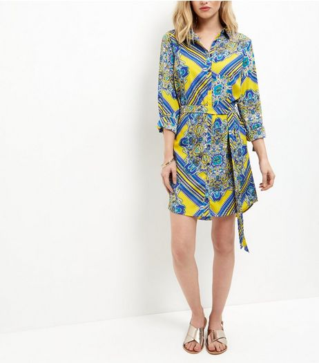 AX Pars Yellow Abstract Print Shirt Dress | New Look