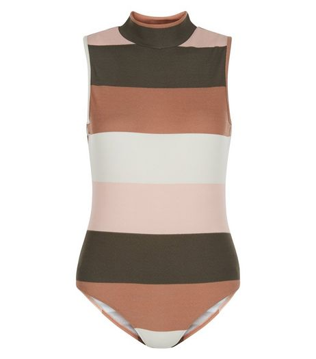 AX Paris Brown Stripe Bodysuit | New Look