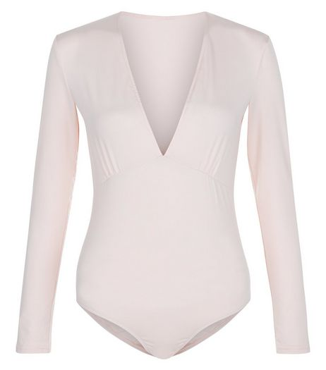 AX Paris Cream V Neck Bodysuit | New Look