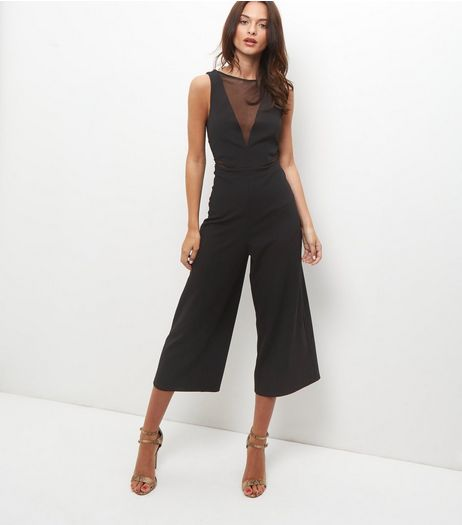 Black Mesh Panel Culotte Jumpsuit  | New Look
