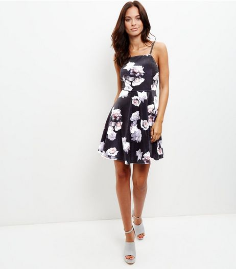 Black Velvet Floral Print Strappy Skater Dress  | New Look